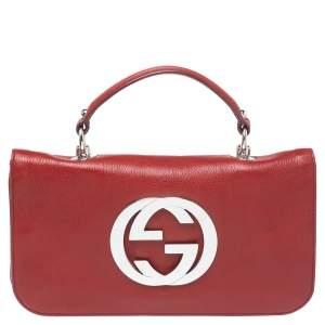 حقيبة كتف غوتشي قلاب بلوندي جلد حمراء سينامون