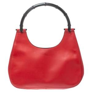 Gucci Red Leather Bamboo Handle Hobo