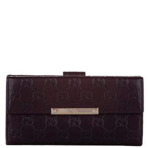Gucci Brown GG Canvas Guccissima Continental Wallet