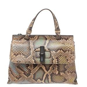 Gucci Multicolor Python Small Bamboo Daily Top Handle Bag