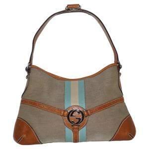 Gucci Blue / White Stripe Canvas Leather Vintage Trim Hobo Bag