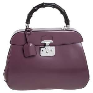 Gucci Old Rose Patent Leather Lady Lock Bamboo Large Top Handle Bag