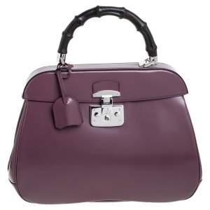حقيبة غوتشي ليدي لوك جلد لامعة وردية أولد بيد علوية بامبو كبيرة