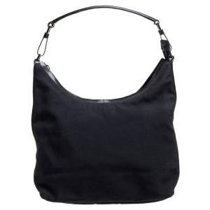 Gucci Black Canvas and Leather Top Zip Hobo