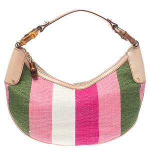 Gucci Multicolor Striped Rafia And Leather Bamboo Ring Hobo