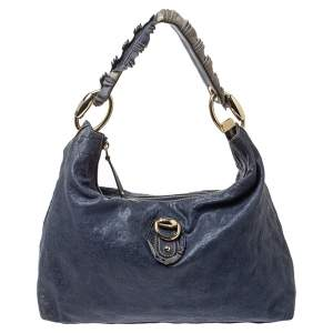 Gucci Blue Guccissima Leather Sabrina Hobo