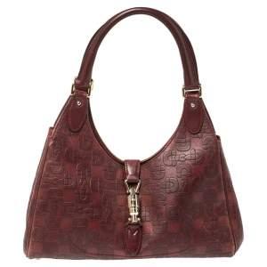 Gucci Dark Red Horsebit Embossed Leather Bardot Bag
