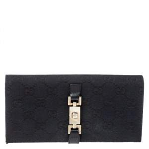 Gucci Black GG Canvas and Leather Jackie Continental Wallet
