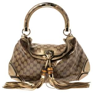 Gucci Gold/Beige GG Crystal Canvas and Leather Medium Babouska Indy Hobo