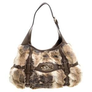 Gucci Brown Rabbit Fur And Leather 85th Anniversary Horsebit Hobo