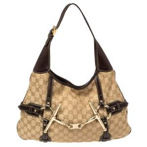 Gucci Beige/Brown GG Canvas and Leather 85th Anniversary Brit Hobo