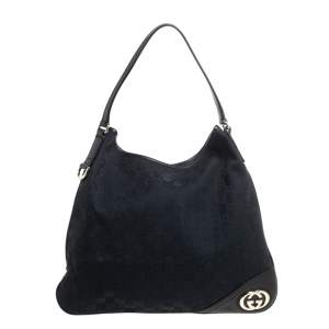 Gucci Black GG Canvas And Leather New Britt Hobo