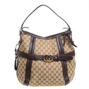 Gucci Beige/Brown GG Canvas and Leather Medium Double G Running Hobo