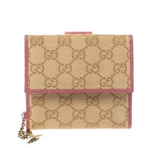 Gucci Beige/Pink GG Canvas and Leather French Flap Wallet