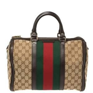 Gucci Beige/Brown GG Canvas Vintage Web Medium Boston Bag
