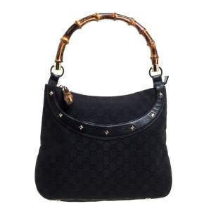 Gucci Black GG Canvas and Leather Anita Bamboo Hobo