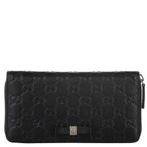 Gucci Black Guccissima Leather Bow Continental Wallet