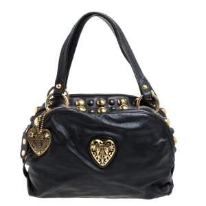 Gucci Black Leather Medium Babouska Heart Dome Satchel