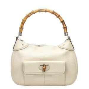Gucci Beige Leather Bamboo Hobo Bag