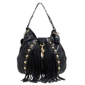 Gucci Black Leather and Suede Babouska Fringe Hobo