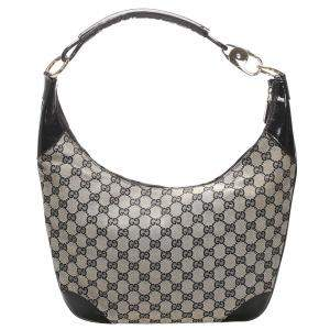 Gucci Black/Grey GG Canvas Zip Hobo Bag