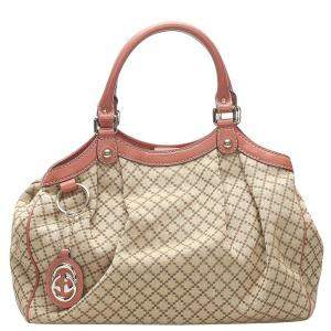 Gucci Brown Diamante Canvas Sukey Tote Bag