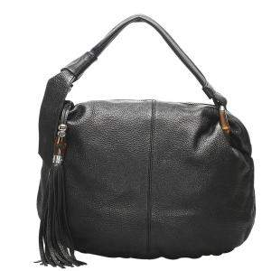 Gucci Black Leather Bamboo Jungle Hobo Bag