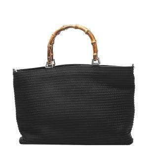 Gucci  Black Nylon Bamboo Bag