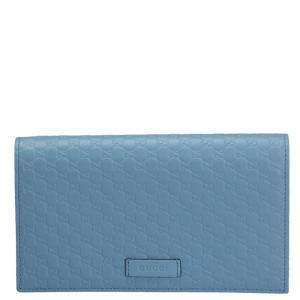 Gucci Blue Microguccissima Leather Wallet On Strap Bag