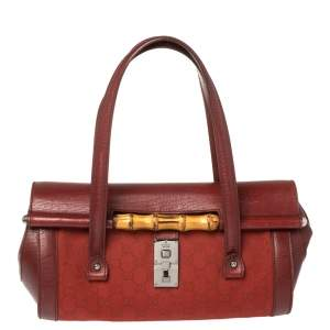 Gucci Red GG Canvas and Leather Bamboo Bullet Bag
