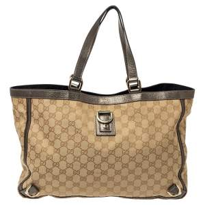 Gucci Beige/Metallic GG Canvas and Leather Abbey D-Ring Tote