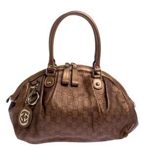 Gucci Bronze Guccissima Leather Medium Sukey Boston Bag