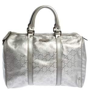 Gucci Metallic Grey GG Imprime Canvas Medium Joy Boston Bag
