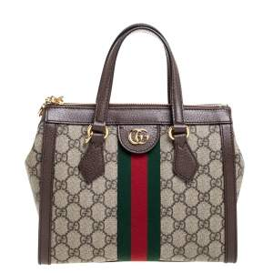Gucci Beige/Ebony GG Supreme Coated Canvas and Leather Ophidia Tote