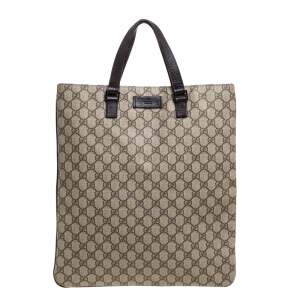 Gucci Brown GG Canvas and Leather Trim Vertical Flat Tote