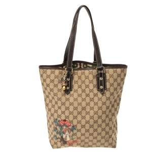 Gucci Beige/Brown Mushroom Embroidered GG Canvas and Leather Tote