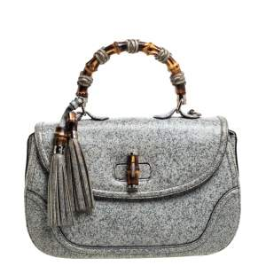 Gucci Ash Blue/Grey Speckled Leather Large New Bamboo Top Handle Bag