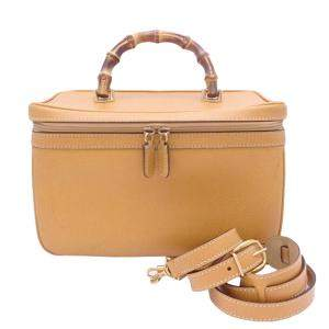 Gucci Brown Leather Bamboo Vanity Case Bag