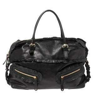 Gucci Black Leather Sabrina Medium Boston Bag