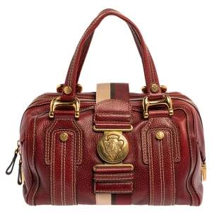Gucci Red Leather Medium Aviatrix Duffel Bag
