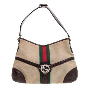 Gucci Brown/Beige Perforated Leather and Canvas Reins Hobo