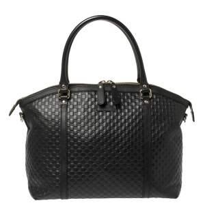 Gucci Black Microguccissima Leather Dome Satchel