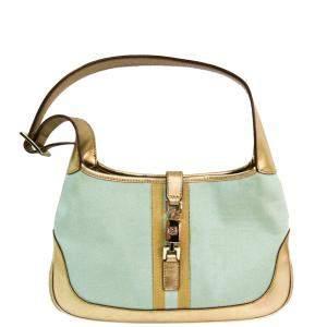حقيبة هوبو غوتشى جاكى كانفاس ذهبية اللون /خضراء مينت
