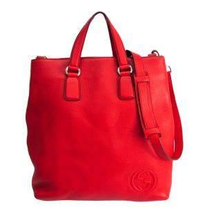 حقيبة يد غوتشى مفتوحة زوهة جلد محبب حمراء