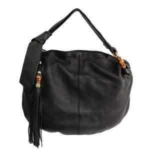 حقيبة هوبو غوتشى متوسطة جانجيل جلد محببه سوداء