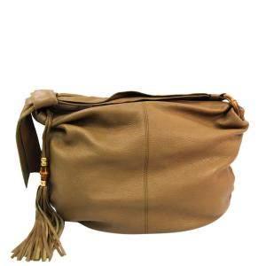 حقيبة هوبو غوتشى متوسطة جانجل جلد محبب بنية