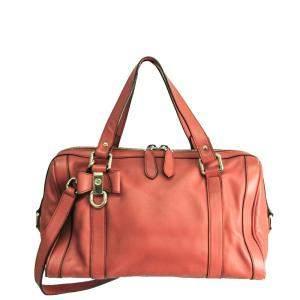 Gucci Salmon Pink Leather Boston Bag