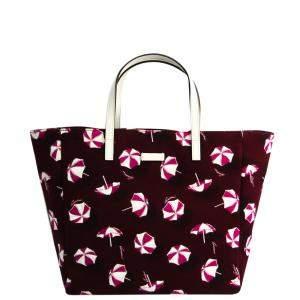 حقيبة يد غوتشى طباعة باراسول كانفاس بيضاء / حمراء