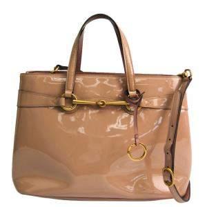حقيبة غوتشى برايت بت جلد لامعة بنية