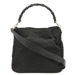 حقيبة غوتشي يد علوية بامبو نايلون سوداء